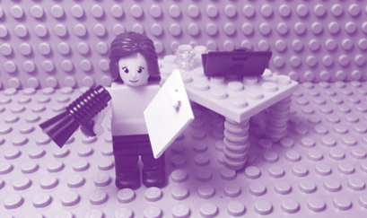 Lego girl and lego table