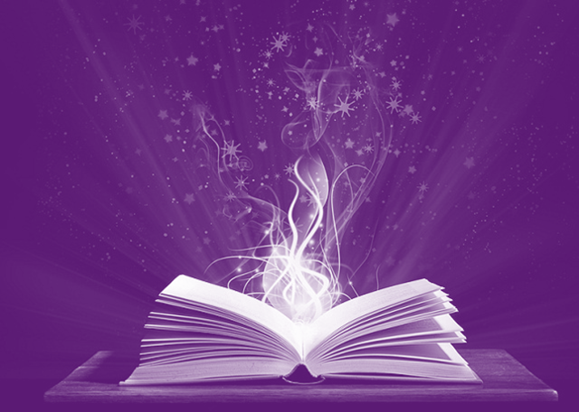 Book on a purple background